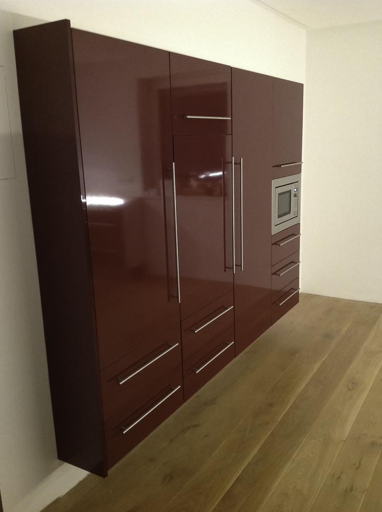Küchenschrank für Einbaugeräte, Indian Red hochglanz